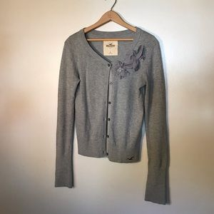 Hollister Grey cardigan with flower detail - L